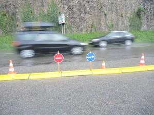 La sortie de la Vigie sur la route RD108